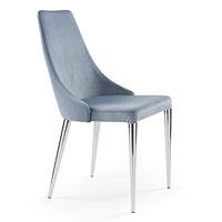 Sedia con gambe in acciaio cromato