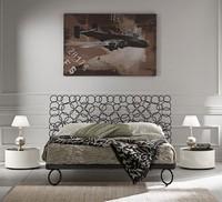 Mondrian letto, Letto in ferro pieno, con testiera ad anelli, per albergo