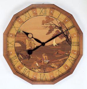 Art. 201/1, Orologio da parete in legno naturale intarsiato