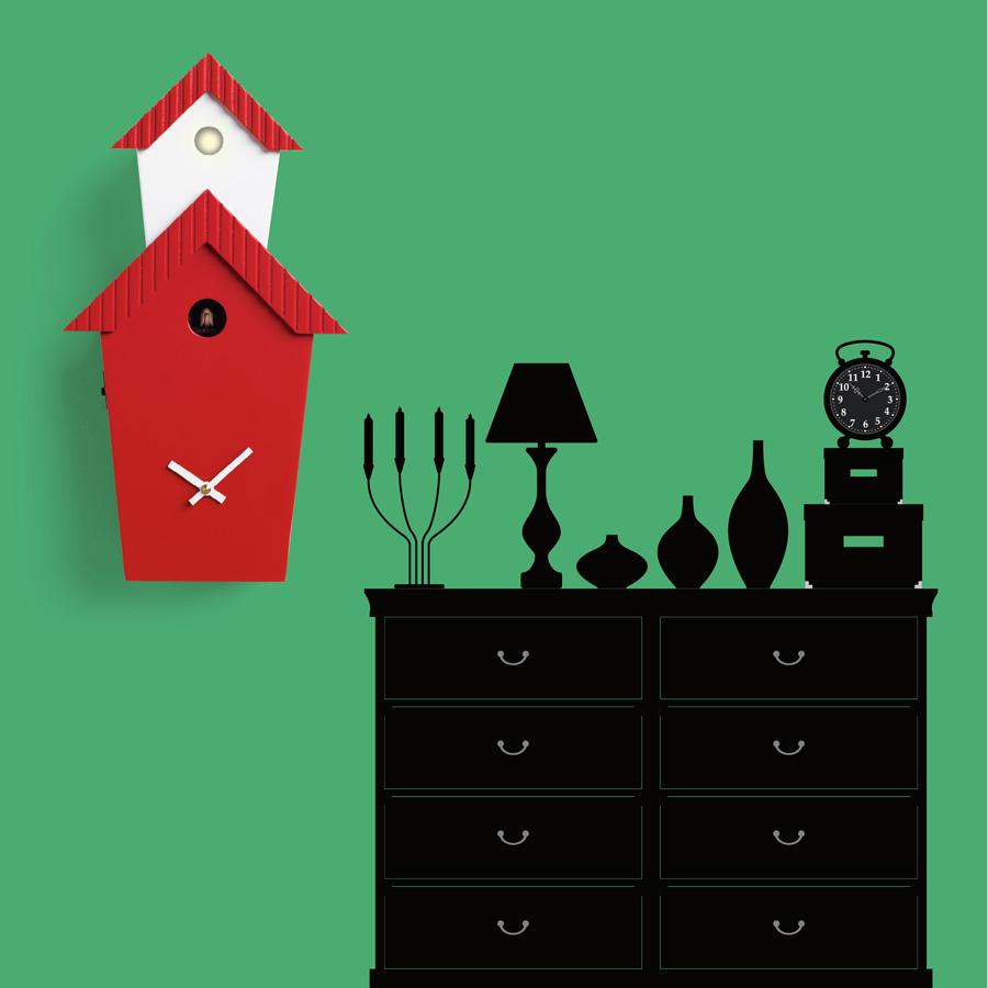 Orologio a cuc da parete in legno per una casa moderna idfdesign - Orologi a cucu design ...
