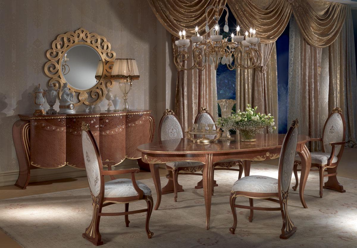 Tavolo da pranzo anticato ovale allungabile foglia oro for Tavolo da pranzo ovale allungabile