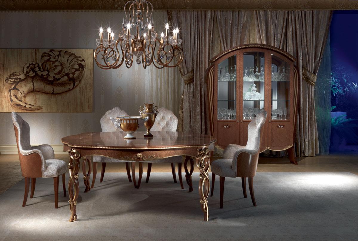 Tavolo classico in legno intagliato tinto noce foglia for Tavolo classico