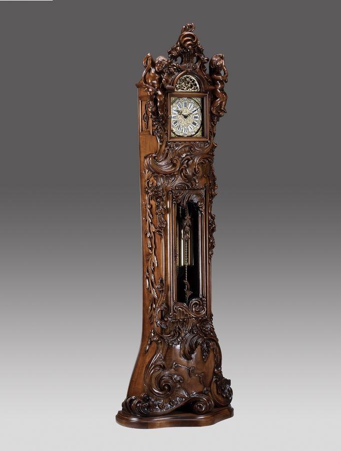 Orologio a Pendolo in stile Barocco lucidato noce con 2 Angeli ...
