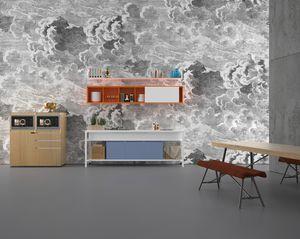 Buffet, Tavolo multifunzione per cucine, con lavelli e forni