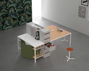Isola Shop H90 - H105, Tavolo multifunzione per cucina e riunione