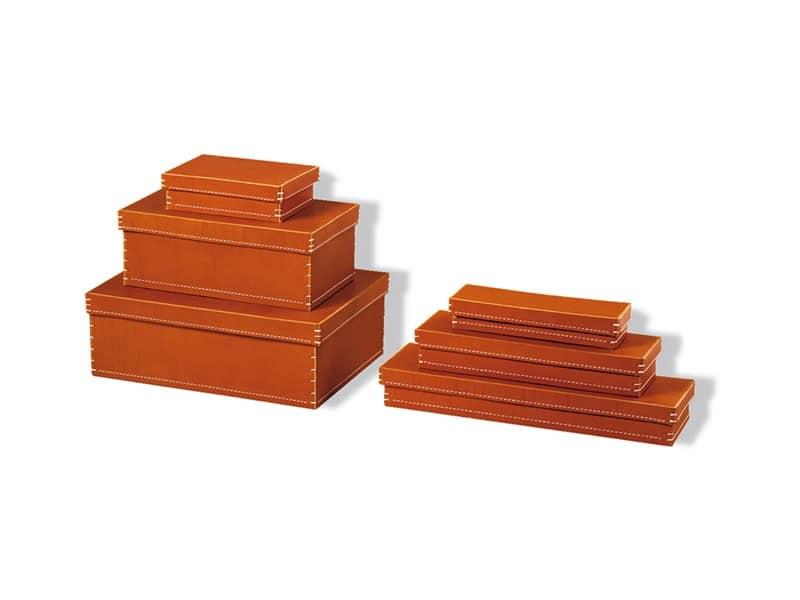 complementi per l 39 ufficio scatole di varie forme in cuoio