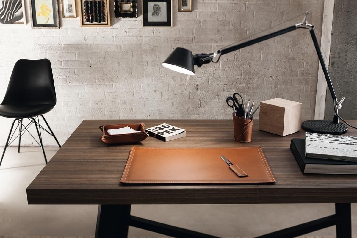 Ascanio 4pz, Set di accessori per scrivania, in cuoio