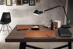 Ascanio 5pz, Accessori in pelle per scrivania