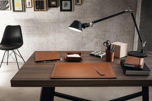 Ascanio 6pz, Sottomano, portapenne, tagliacarte in cuoio per scrivania