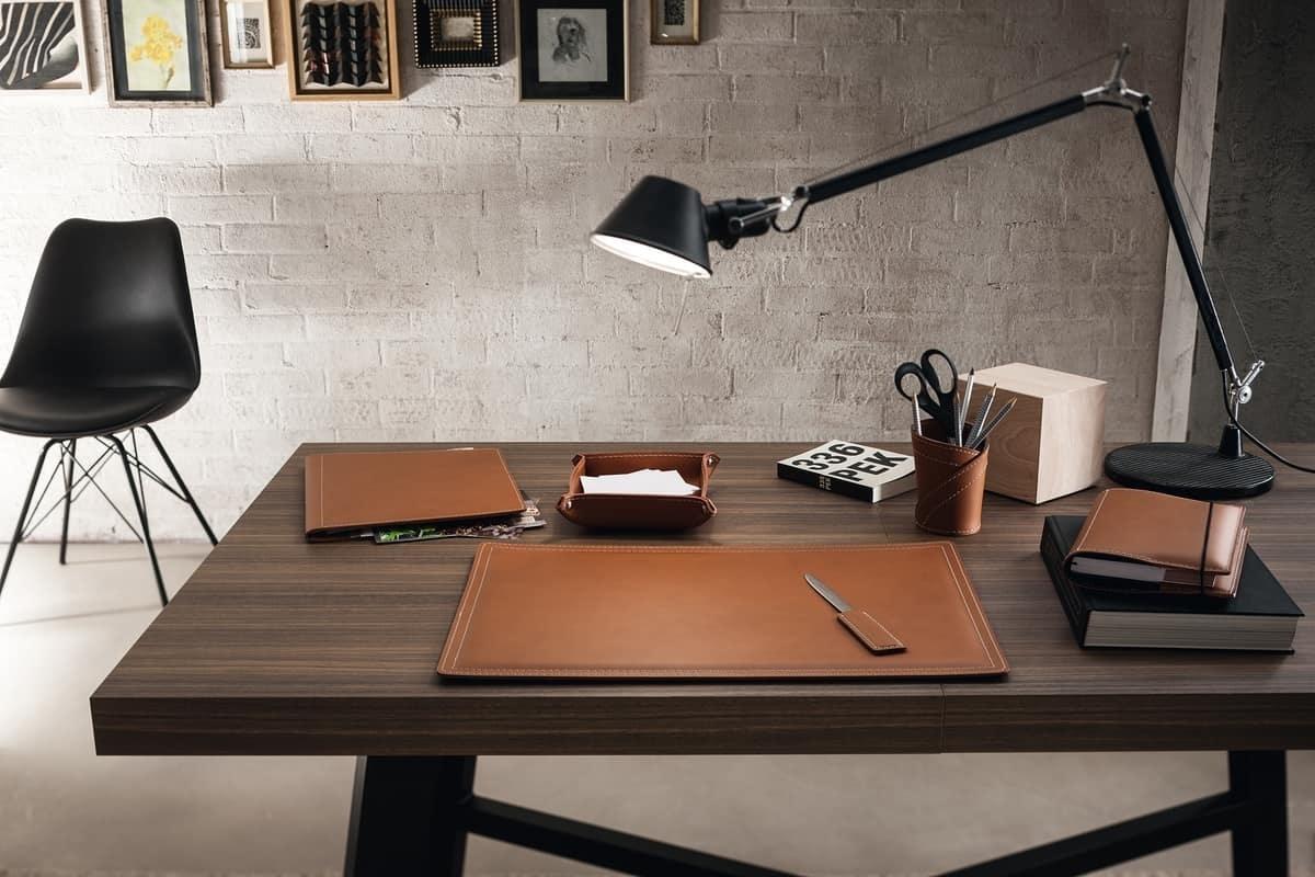 Ascanio sottomano sottomano da scrivania in cuoio colore marrone