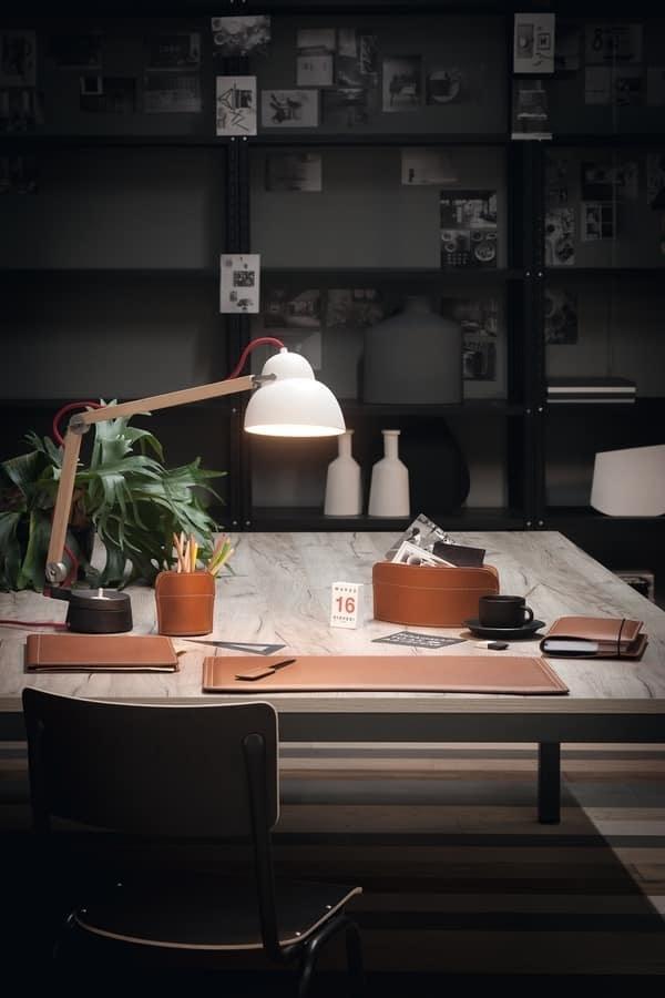 Brando 6pz, Set per scrivania, in cuoio rigenerato