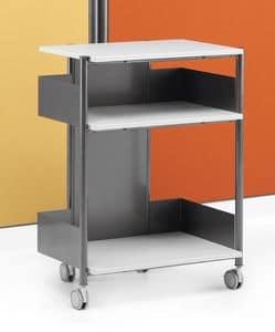 MULTIKOM 3008, Carrello in metallo e laminato, varie misure, per ufficio