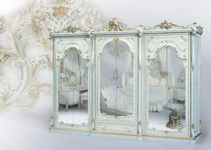 508, Guardaroba classico laccato bianco, con specchiera