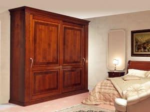 Art. 2004/952/2 2 ante, Armadio classico in legno decorato, ante scorrevoli con intarsi