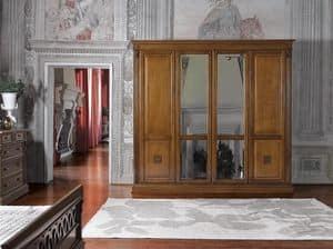 Art. 44582 Puccini, Armadio classico con 4 ante e specchio, decori floreali