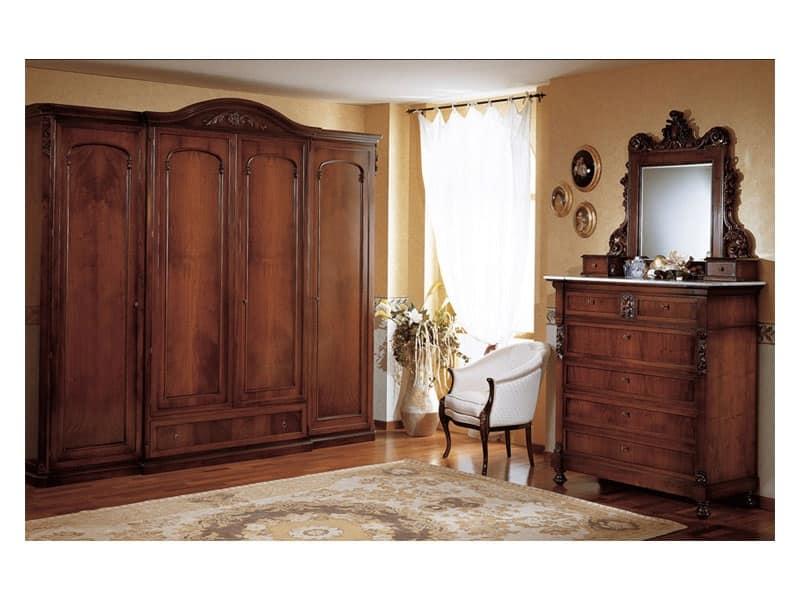 Armadio in stile a quattro ante per camera da letto for Armadio per salotto