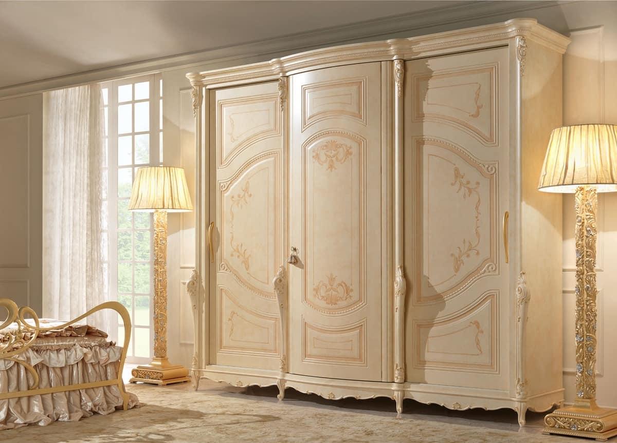 Armadio a 3 ante dipinto a mano in stile classico idfdesign - Dipinti camera da letto ...