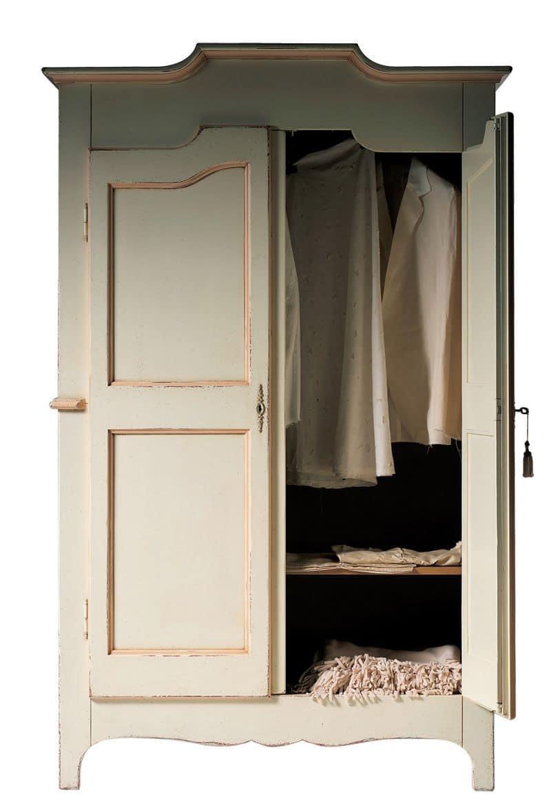Geneviève BR.0751, Armadio laccato a 2 ante con un ripiano interno, adatto per camere da letto in stile classico