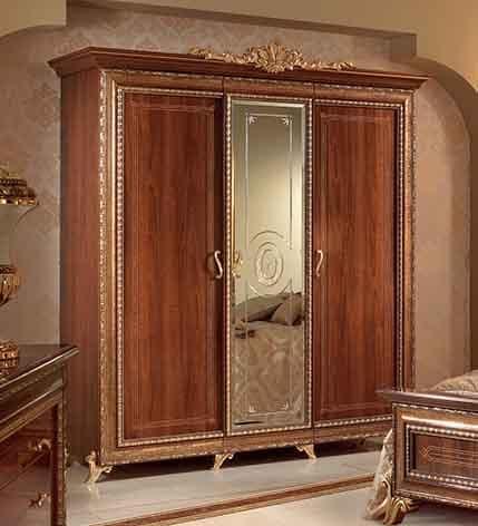 Armadio classico in noce con 3 ante e specchio centrale for Armadio piccolo