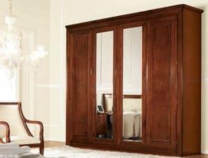 Olympia armadio 4 ante con specchio, Armadio classico con specchi, con cassettiera interna