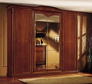 Praga armadio, Guardaroba classico, in noce, con 4 porte, per camera