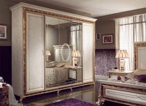 Raffaello armadio 5 ante, Armadio classico di lusso, laccato bianco perlato con decori oro
