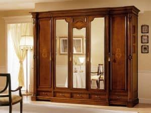 REGINA NOCE / Armadio a 5 ante (3 ante centrali a specchio) , Guardaroba di lusso a 5 ante, 3 con specchio, per Hotel