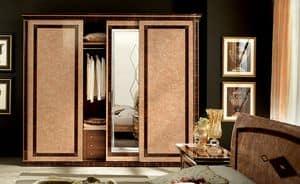 Rossini armadio grande, Armadio in legno macassar, con specchio serigrafato