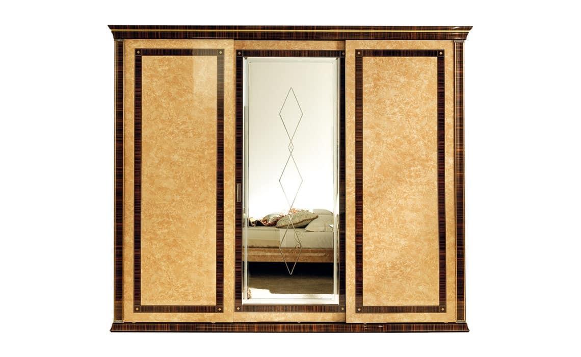 Armadio in legno macassar con specchio serigrafato for Grande cabina armadio