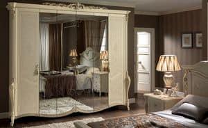 Tiziano armadio, Armadio classico 6 ante, con specchio, ideale per camere da letto di lusso