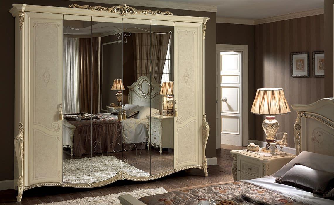 Armadio classico 6 ante, con specchio, ideale per camere da letto ...