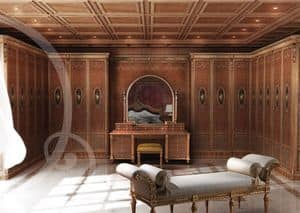 W100, Armadio intagliato in stile classico, per Camera da letto