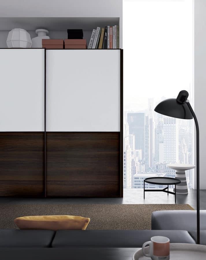 Link, Armadio in legno e vetro, anta scorrevole, per Camera da letto