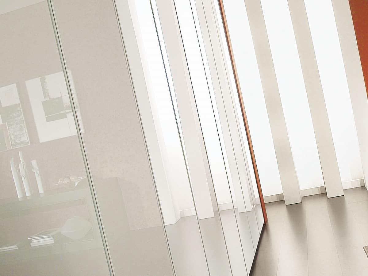 Armadio Idra Lucido Vetro 23, Armadio componibile, ricoperto con vetri, stile lineare