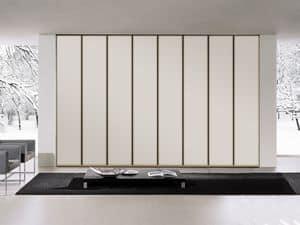 Armadio Tera 01, Armadio lineare con ampia apertura delle porte, vari colori