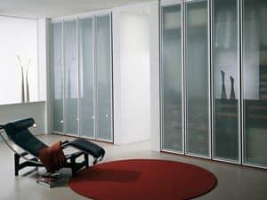 Armadio Tera 07, Armadio con ante in vetro opaco, per la casa e l'ufficio