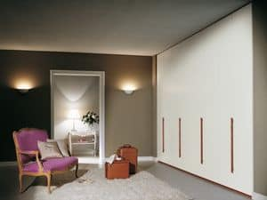 Armadio Itaca 19, Armadio modulare con maniglie in legno, per camere da letto