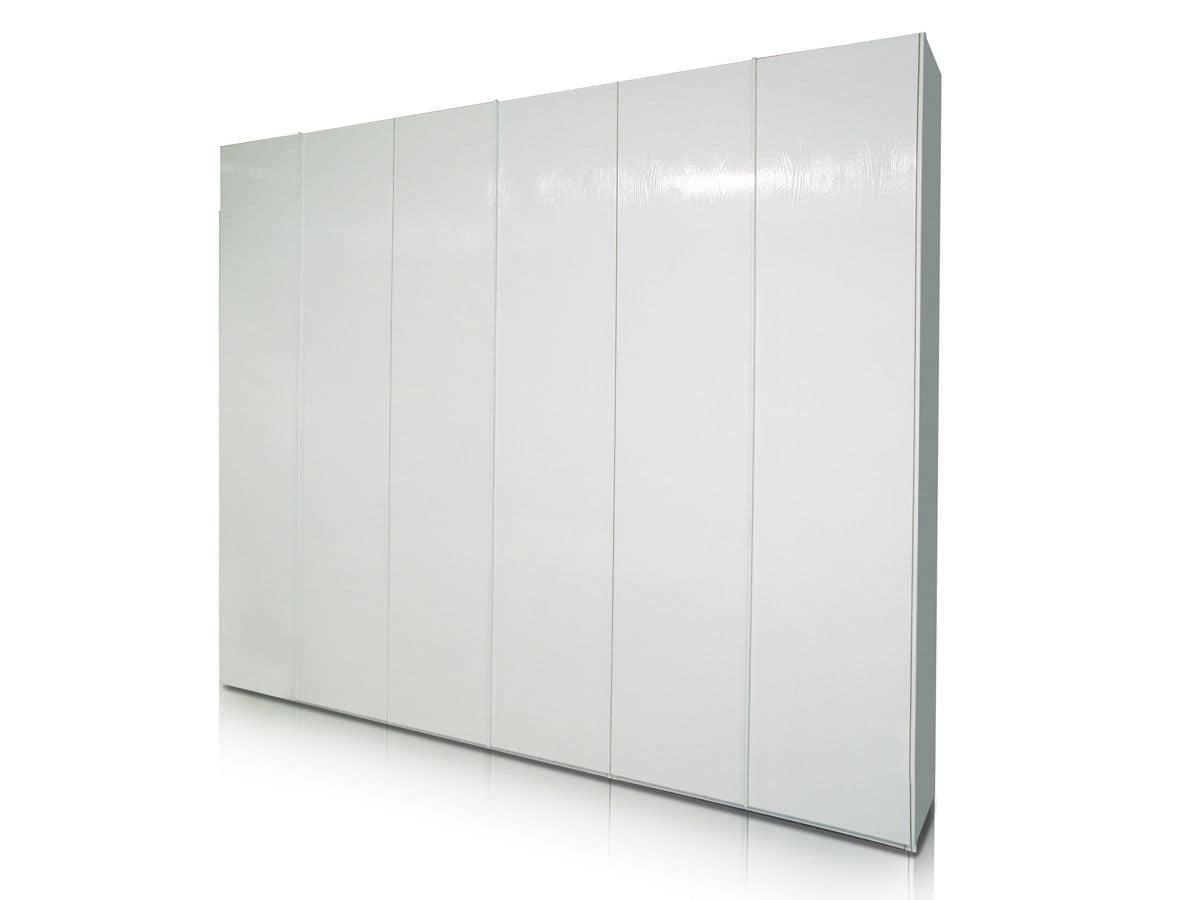 Idea, Armadio laccato bianco con ante scorrevoli, disponibile anche nella versione ante battenti, per camere da letto moderne