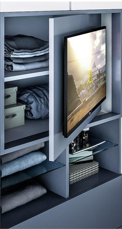PRESA 2 armadio, Armadio in melaminico, con porta TV
