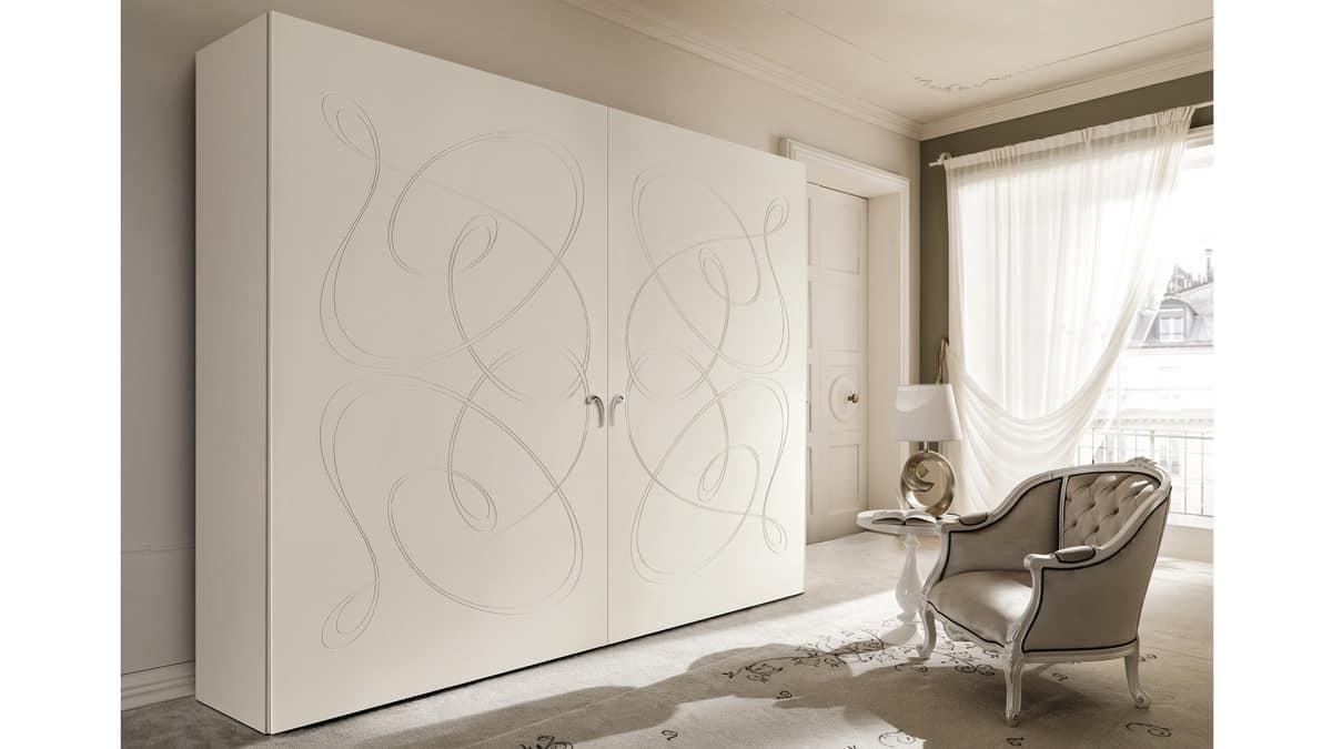 Armadio a muro con motivi curvilinei sulle 2 porte idfdesign - Cantori mobili prezzi ...