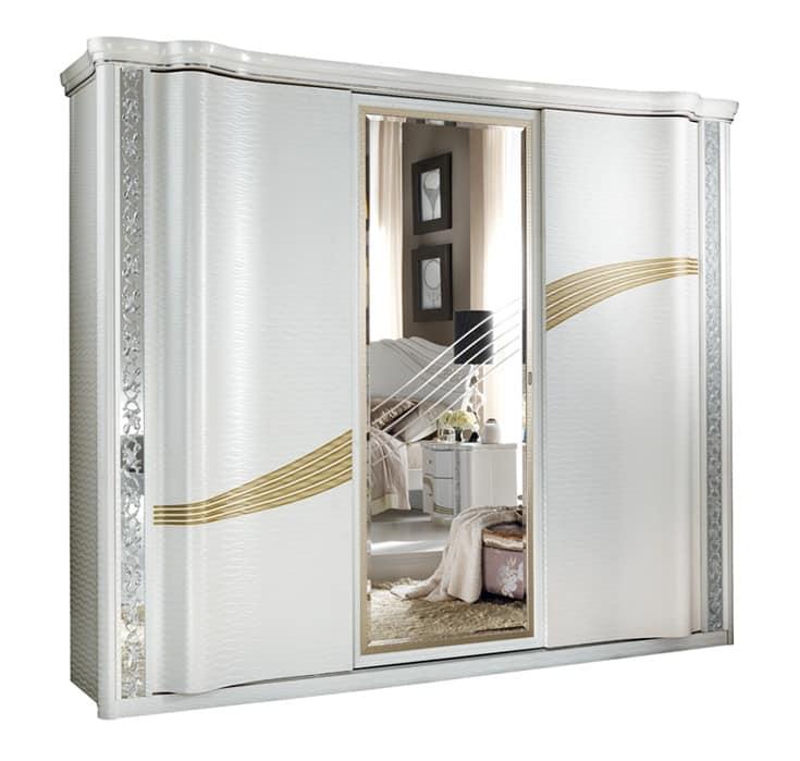 Armadio con ante scorrevoli e specchio centrale idfdesign - Lo specchio retrovisore centrale ...