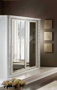 Mir� armadio piccolo, Armadio con 2 ante scorrevoli con specchi, solida eleganza