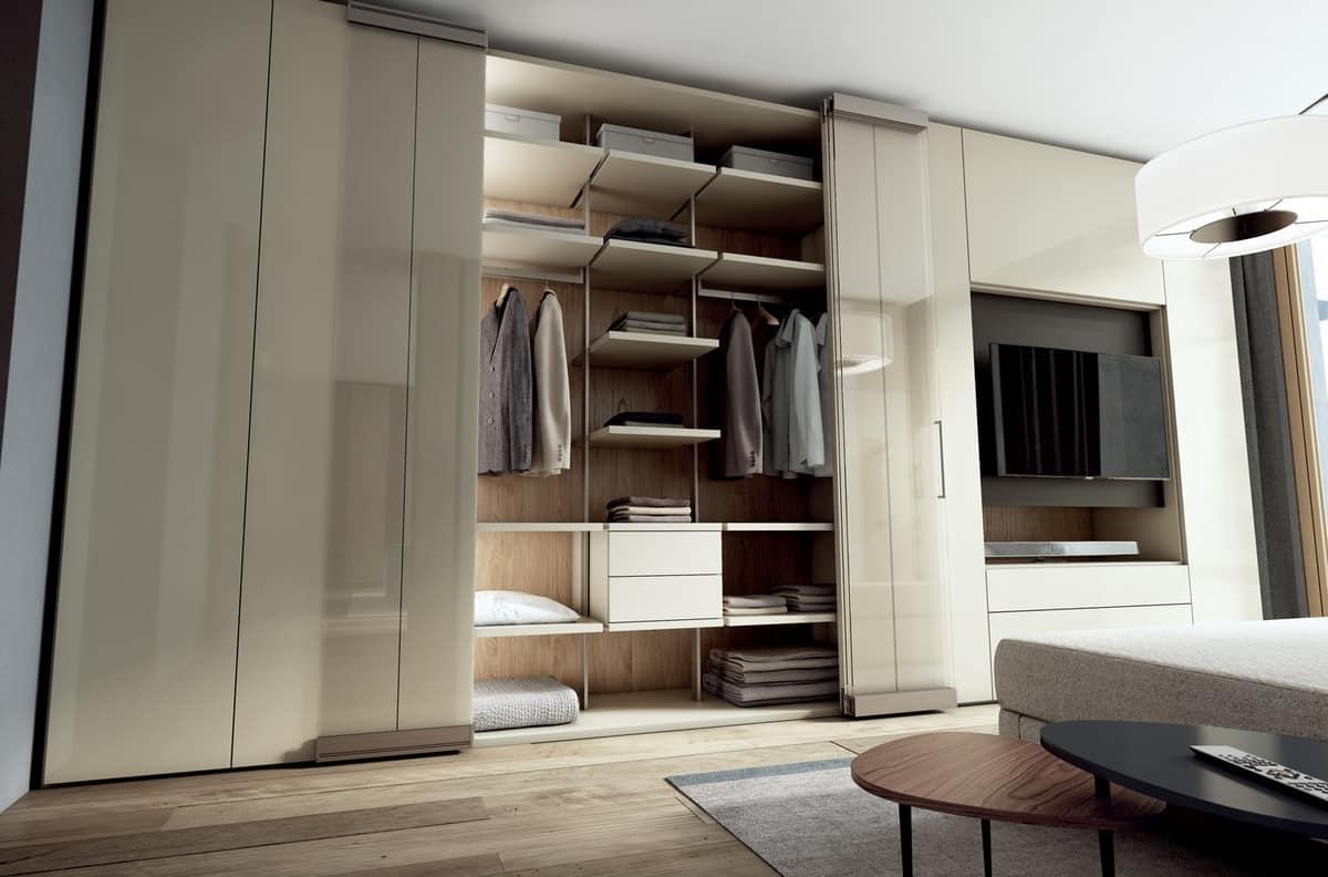 Parete componibile con armadi e porta tv per camere - Armadi per camere ...