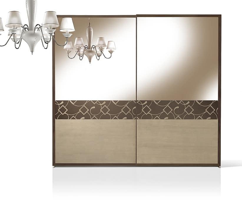 Armadio con porte in noce rivestite con specchio idfdesign - Porte con specchio ...