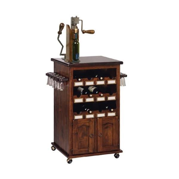 Mobile portabottiglie e portabicchieri con ruote per for Arredamento enoteca wine bar