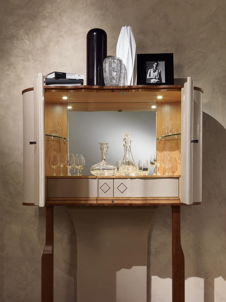 MB54 Mistral mobile bar, Mobile wine bar, rivestito in pelle, finiture in bronzo