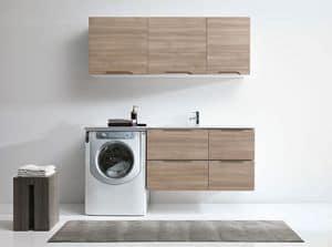 Flexia C, Arredamento per lavanderia con armadi pensili