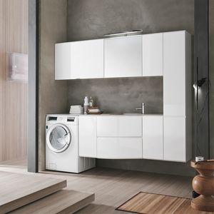 Flexia comp. 02, Sistema di arredo che valorizza l'ambiente lavanderia