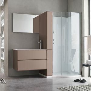 Flexia comp. 03, Mobile lavanderia con colonna a porta scorrevole