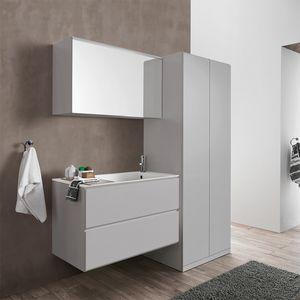 Flexia comp. 01, Arredamento per lavanderia, con stendibiancheria e specchiera